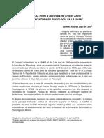 Historia de Los 55 Años de La Licenciatura en Psicología UNAM