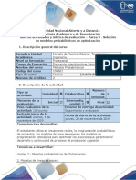 Guía de Actividades y Rúbrica de Evaluación - Tarea 3 - Solución de Modelos Probabilísticos de Optimización