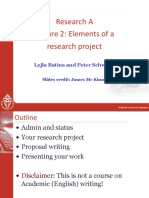 ResearchA Lecture2:Elementsofa researchproject
