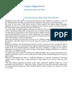 Nutrition - Childhood Malnutrition Could Weaken Brain Function in Elderly (Science Daily- 02-07-2010)