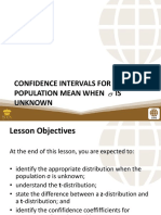 PSUnit IV Lesson 3 Confidence Intervals for the Population Mean When is Unknown