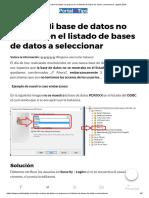 ODBC – Mi Base de Datos No Aparece en El Listado de Bases de Datos a Seleccionar Agosto 2019