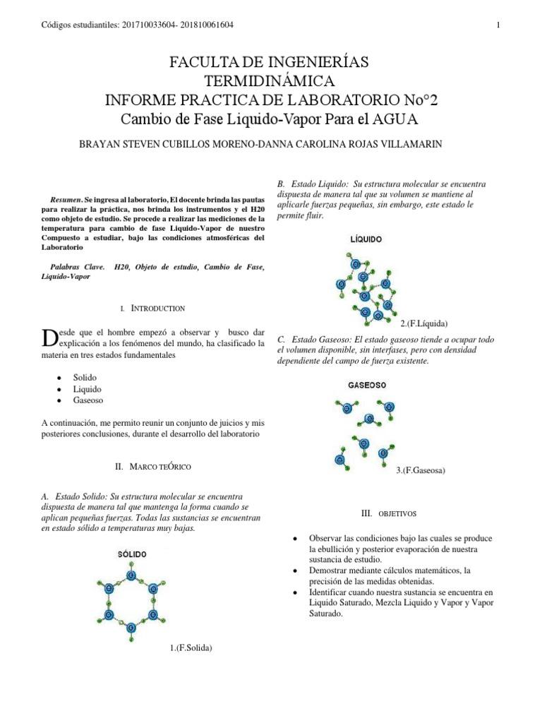Informe De Laboratorio No 2 Cambio De Fase Liquido Vapor