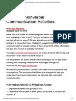 Nonverbal Communication Activities