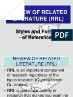 RRL STYLES AND FORMAT OF REFERENCES