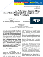 Understanding the Performance Analysis of Free Space Optical Communication Using Red Laser 650nm Wavelength IJERTV4IS040985