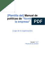 Plantilla Del Manual de Políticas
