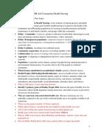 NR442 - Community Health Nursing - Exam 1 Study Guide