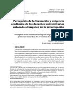 Percepcion de La Formacion y Exigencia Academica de Los Docentes Univers.....