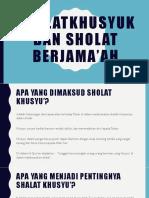 Sholatkhusyuk Dan Sholat Berjama'Ah