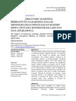 Pengaruh Discovery Learning Berbantuan E-learning Dalam Meningkatkan Penguasaan Konsep Dan Aplikasinya