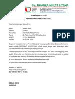 Surat Pernyataan Kepemilikan Kompetensi Kerja