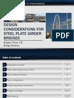 Design Considerations for Steel Plate Girder Bridges