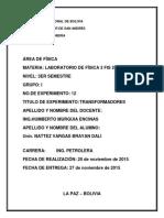 Informe Numero 12 Transformadores -Fallado