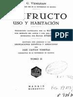 Usufruto, Uso y Habitación (Venezian) Tomo II