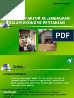 FAktor kelembagaan dalam ekonomi pertanian