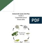 animal life cycles unit plan