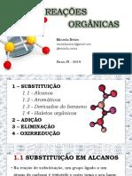 REAÇÕES ORGÂNICAS - substituição