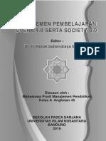 Manajemen Pembelajaran Di Era 4.0 Serta Society 5.0