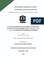 Actividad antioxidante , polifenoles totales en el extracto de hierba luisa y su estabilidad en modelos de bebida.pdf