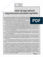 Balita, Sept. 16, 2019, Binalewala ng mga opisyal ang execlusion provision ng batas.pdf