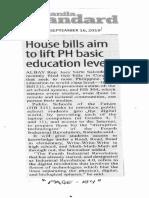 Manila Standard, Sept. 16, 2019, House bills aim to lift PH basic education levels.pdf