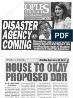 Peoples Journal, Sept. 16, 2019, Disaster Agency coming Romualdez couplr, other solons assure passage of proposal law creating Dept. og Disaster Resilience in current Congress.pdf