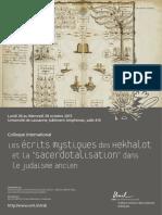 Programme Colloque Les Écrits Mystiques Des Hekhalot - Université de Lausanne