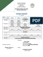 Teacher's and Class Program (S.Y. 2018-2019)