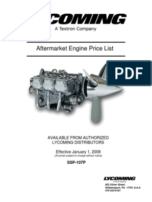 2008 Lycoming Service Engine Price List List Price Business