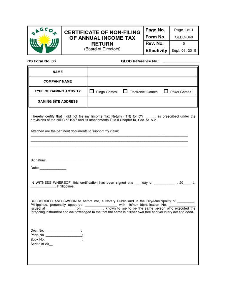 Certificate Of Non Filing Of Annual Income Tax Return
