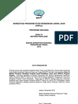 Buku 6 Matriks Penilaian Akreditasi Pspjj Sarjana 20181228update Pdf