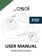 TWS-K2 Wireless Bluetooth Headset User Manual
