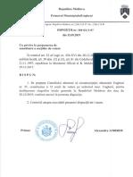 """Dispoziția nr. 384 - 02 / 1-07 din 12 septembrie 2019 """"Cu privire la propunerea de constituire a secțiilor de votare"""" în municipiul Ungheni"""