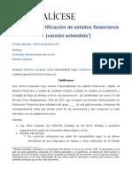 MODELO CERTIFICADO DE ESTADOS FINANCIEROS