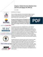 60+ Groups to Congress- Defend American Workers from Union Coercion and Oppose the PRO Act