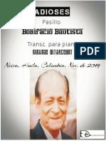ADIOSES. Pasillo. Bonifacio Bautista. Transc. piano Gerardo Betancourt.