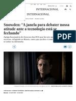Matéria sobre Snowden e o debate sobre a vigilância maciça