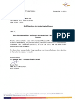Exchange Letter Dated September 12, 2019