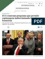 EUA Renovam Programa Que Permite Espionagem Indiscriminada Fora de Suas Fronteiras (EL PAÍS Brasil)