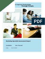 Sample Marketing Specialist Report