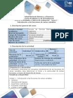 Guía de Actividades y Rúbrica de Evaluación - Tarea 1 - Introducción a Las Funciones de Varias Variables