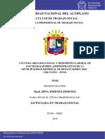 CULTURA ORGANIZACIONAL YDESEMPEÑO LABORAL DE LOS TRABAJADORES ADMINISTRATIVOS DE LA MUNICIPALIDAD DISTRITAL DE DESAGÜADERO, 2018 –CHUCUITO –PUNO