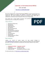 Bioscience Engineering an International Journal (BIOEJ)