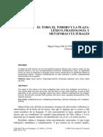 EL TORO, EL TORERO Y LA PLAZA. Léxico, fraseología y metáforas culturales..pdf