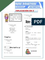 Multiplicación de Números Enteros Para Primero de Secundaria