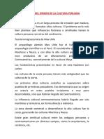 Teorías Del Origen de La Cultura Peruana