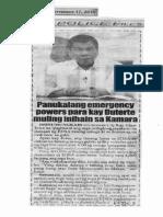 Police Files, Sept. 17, 2019, Panukalang emergency powers para kay Duterte muling inihain sa Kamara.pdf