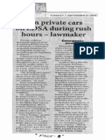 Philippine Star, Sept. 17, 2019, Ban private cars on EDSA during rush hours-lawmaker.pdf