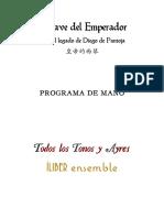 El Clave Del Emperador - Programa de Mano - Sancti Iohannis 2019